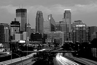Minneapolis Skyline from 26th Street overpass - B & W